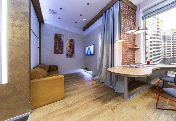 Гостиная, Студия в Москве 32м² в стиле Лофт