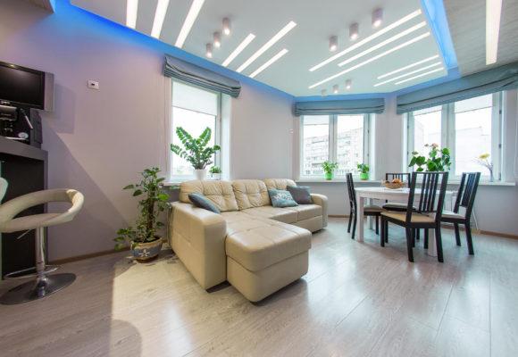 Гостиная, 3-комнатная евро-квартира в Москве, 68м²